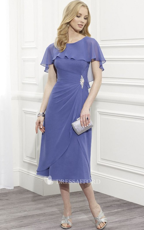 Scoop-neck Tea-length Bat-sleeve Dress With Side Draping