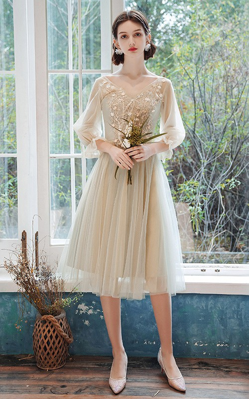 Bateau Halter Off-the-shoulder Tulle Knee-length Homecoming Dress With Appliques