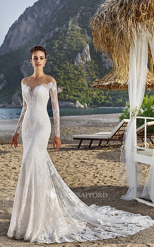 refined Lace Long Sleeve Mermaid Wedding Dress With Illusion And Tulle Sweep Train