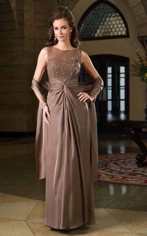 Matching Shawl Rhinestones Bateau-Neckline Sleeveless Gown