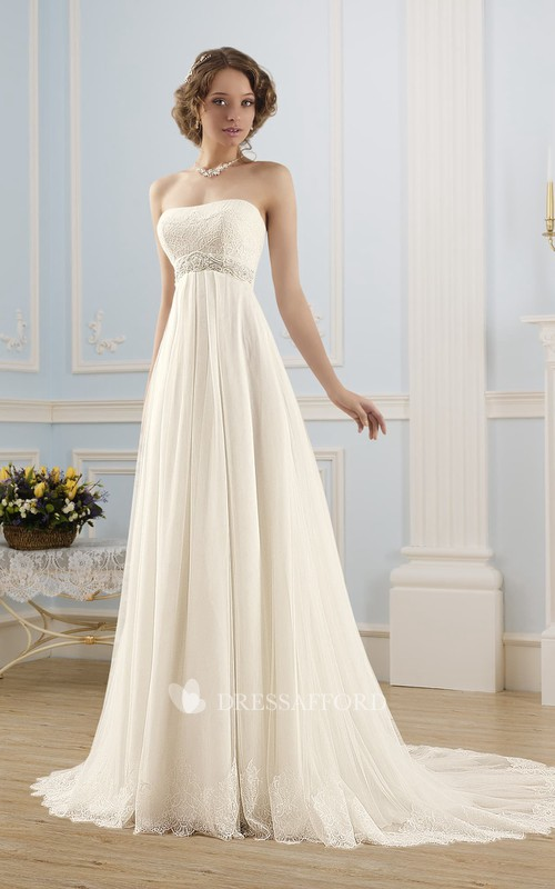 Sleeveless Waist Jewellery Lace Pleats Floor-Length A-Line Tulle Corset-Back Dress