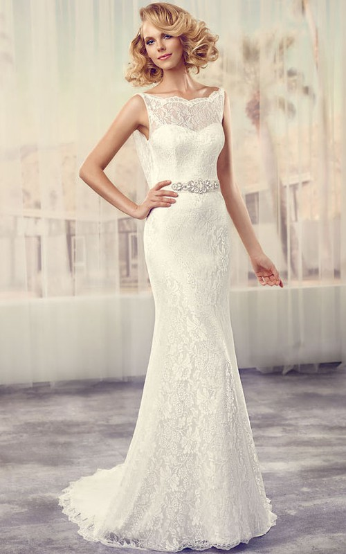 Bateau Sleeveless Lace Sheath Dress With Sweep Train And Embellished Waist
