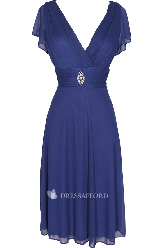 Midi-Length Jewel V-Neckline Short-Sleeve Chiffon Dress