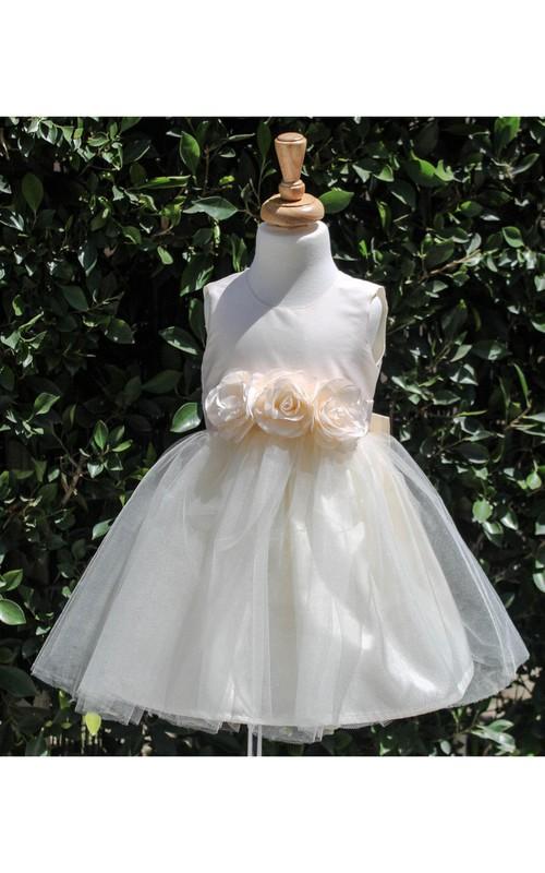 Tulle Satin Top Jewel-Neckline Sleeveless Gown