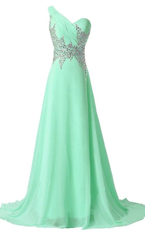 A-Line Illusion Back Rhinestoned One-Shoulder Gown