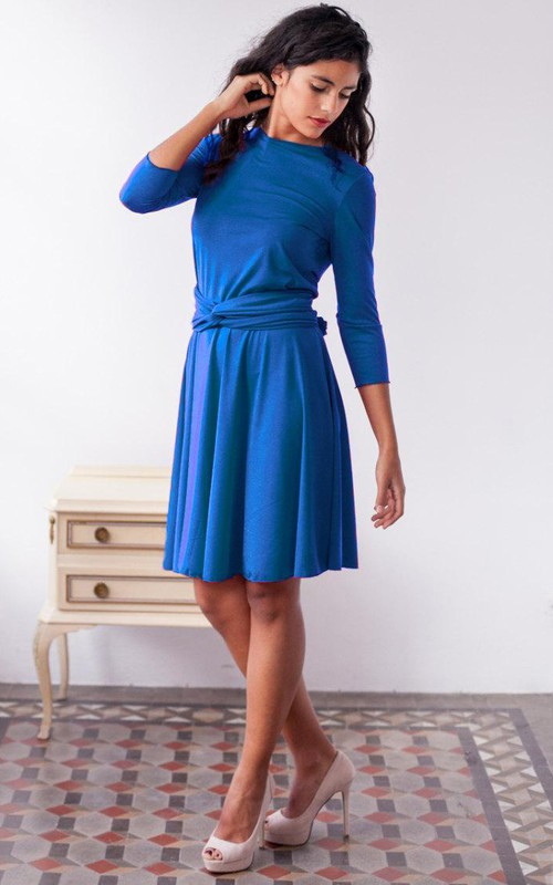 Bateau 3-4-sleeve short Dress With Pleats And bow