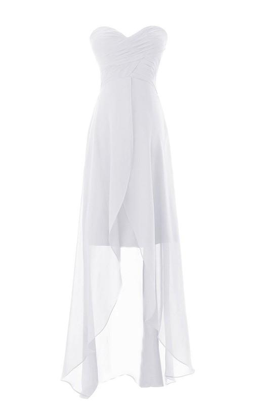 Sweetheart Asymmetrical High-low Layered Chiffon Dress