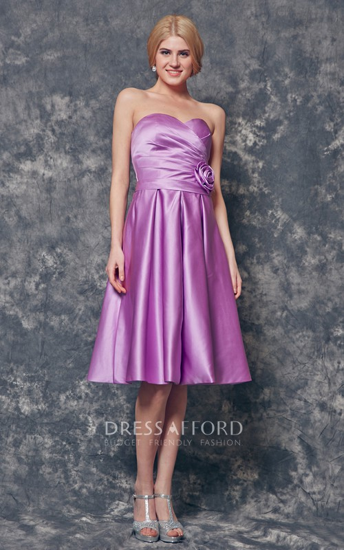 Sweetheart Floral Ruched Knee Length A-line Satin Dress