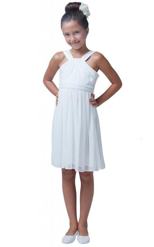 casual Strapped Chiffon short Flower Girl Dress