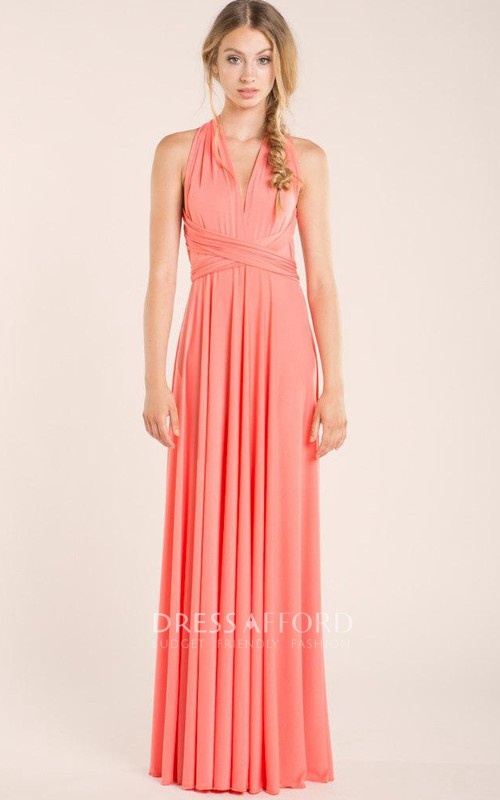 Haltered Sheath Floor-length Dress With Pleats And bow