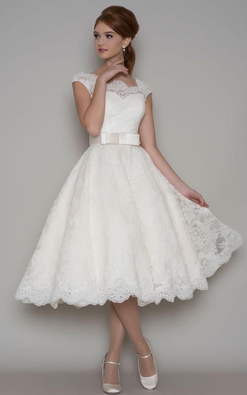 Bateau A-line Tea-length Lace Wedding Dress With Illusion back