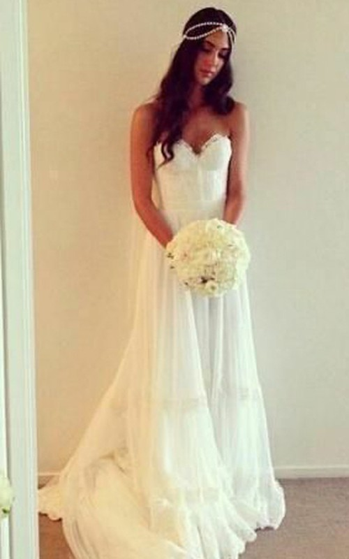 Pleated Backless Tulle Sweetheart Boho Lace-Top Gown