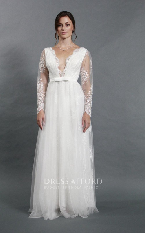 Long-Sleeve Tulle Deep-V-Neckline Sassy Bridal A-Line Dress