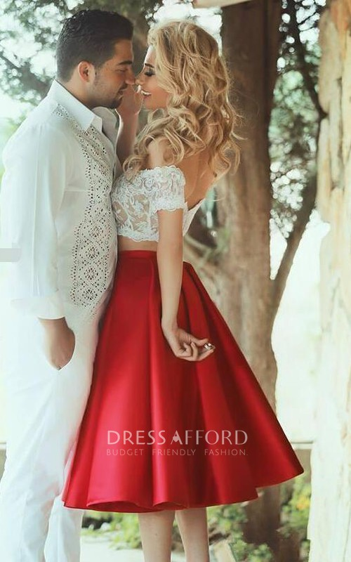 Two-Piece Off-The-Shoulder A-Line Lace Sassy Gown