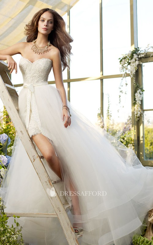 Short Detachable Tulle Overskirt Lace Sexy Dress
