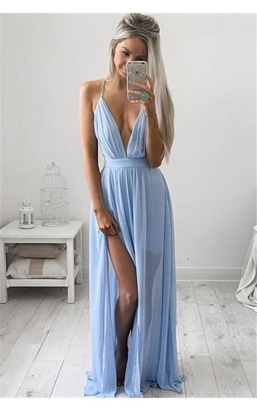 Long Chiffon Floor Length Formal V-Neckline Elegant Floor-Length Dress