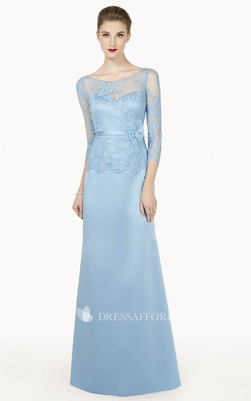 Scoop-neck Illusion Long Sleeve Sheath Dress With Lace top