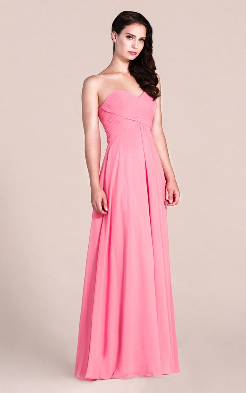 Sweetheart Criss cross Ruched Chiffon Dress With Backless design