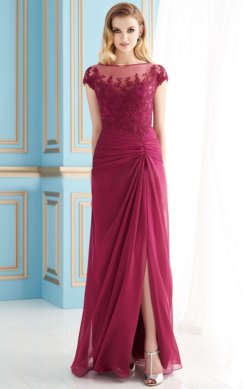 Front-Slit Lace Detail Floor-Length Cap-Sleeved Mother Of The Bride