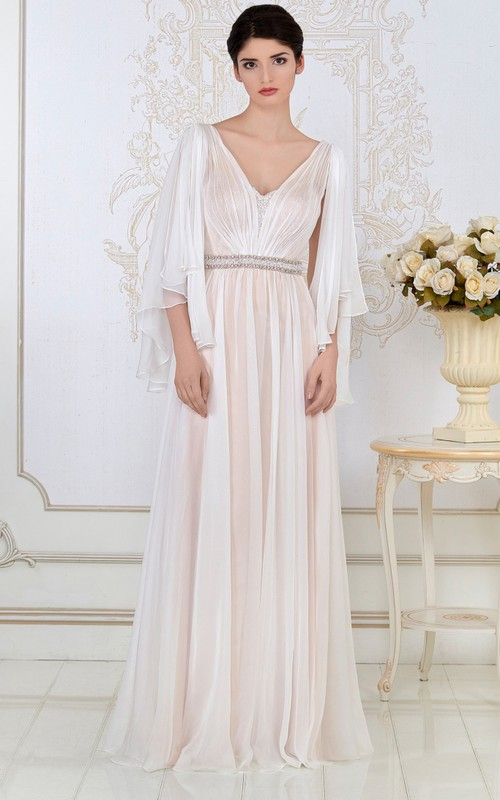 Plunged long Poet-sleeve Pleated Dress With Beaded Waist