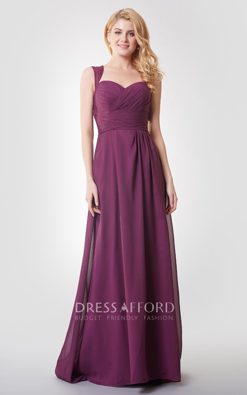 Queen Anne Sweetheart Criss cross Ruched Floor-length Dress With Keyhole
