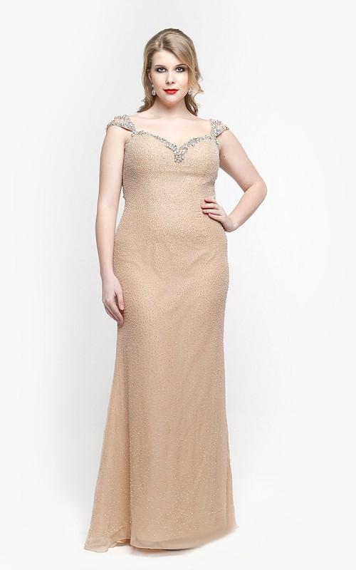 Chiffon Beaded Cap-Sleeve Sweetheart Dress