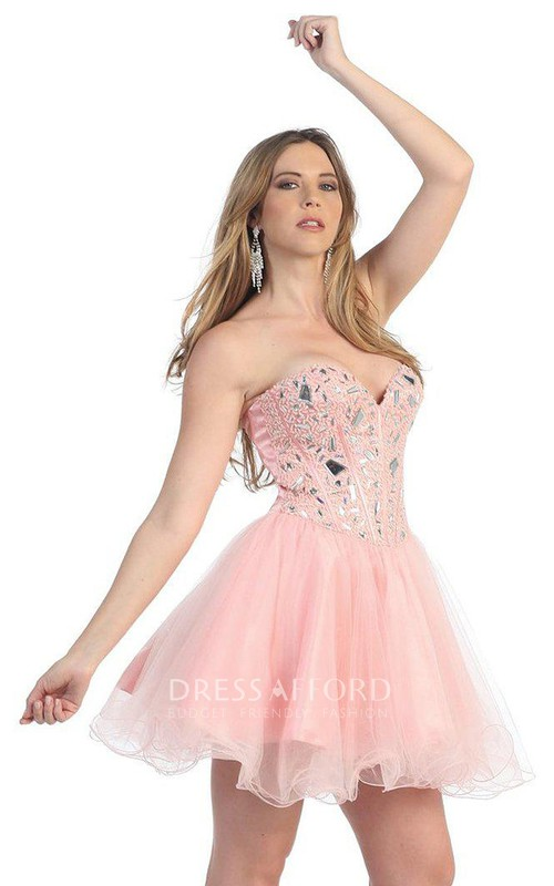 Sweetheart A-line Short Dress With Crystal Bodice