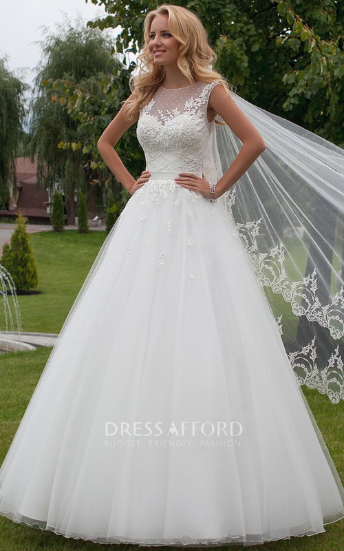 Scoop-neck Sleeveless Tulle Ball Gown Dress With Appliques And Low-V Back