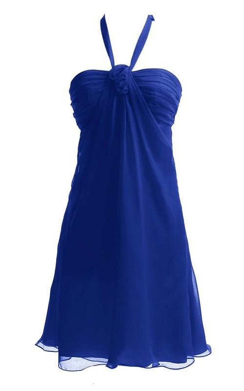 Ruched-Top Chiffon Halter Sleeveless Short Dress