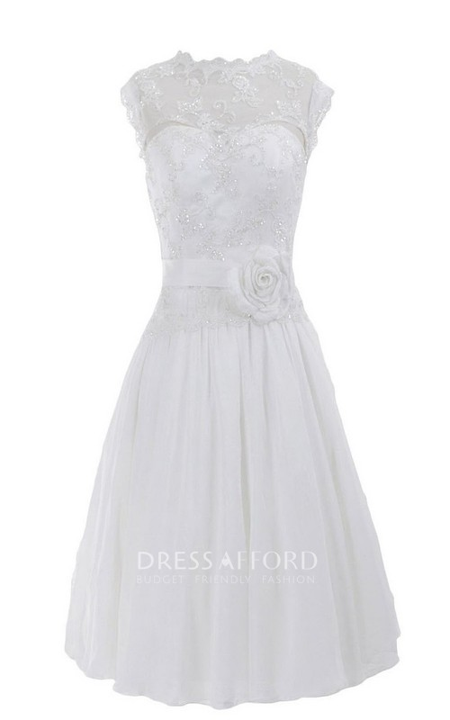 Sleeveless High Neck Appliqued Beaded Knee-length Chiffon Dress
