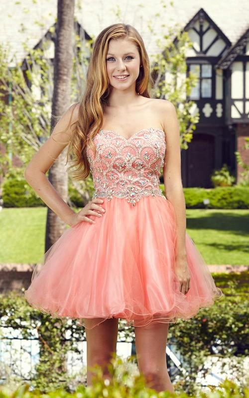 A-Line Satin Tulle Ruffled Jeweled Short Mini Strapless Sweetheart Sleeveless Dress