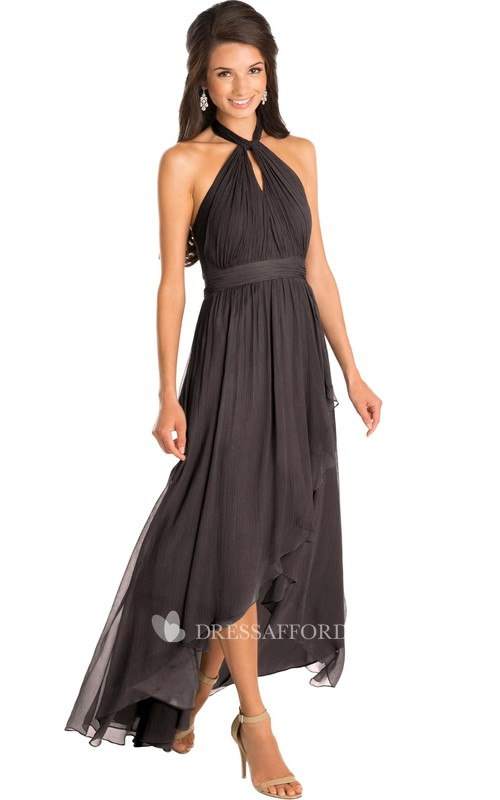Chiffon High-low Dress With Ruching And Draping
