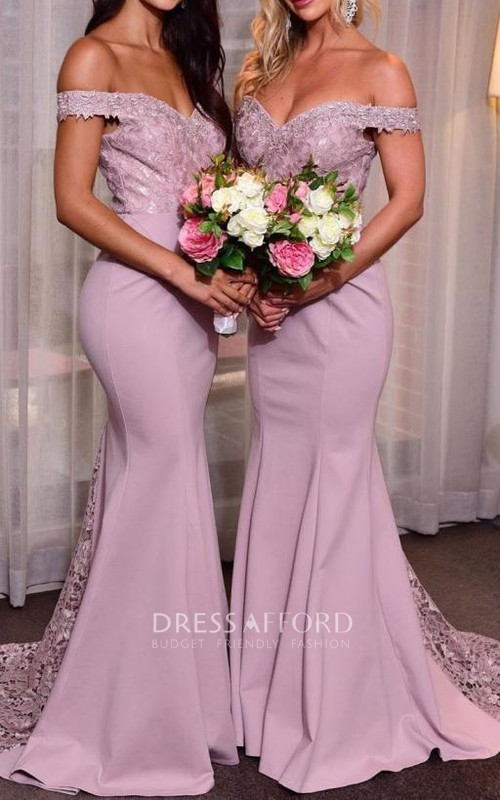 Sweetheart Off-the-shoulder Satin Lace Sleeveless Floor-length Mermaid Bridesmaid Dress