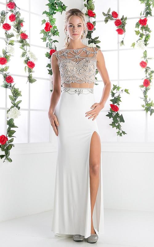 Column Split Front Jeweled Bateau Cap-Sleeve Keyhole Jersey Dress