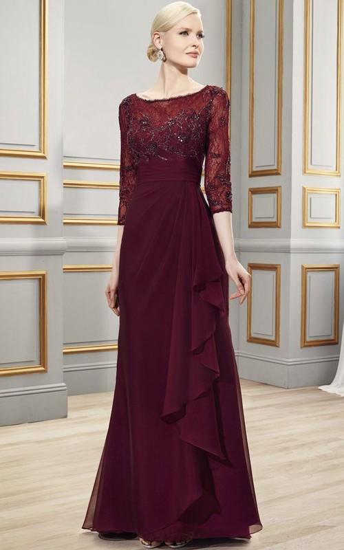 Bateau 3-4-sleeve Chiffon Lace Dress With Draping