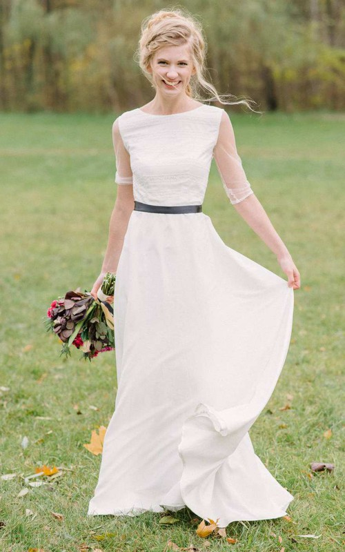 Long Sleeve Chiffon Lace Wedding Dress
