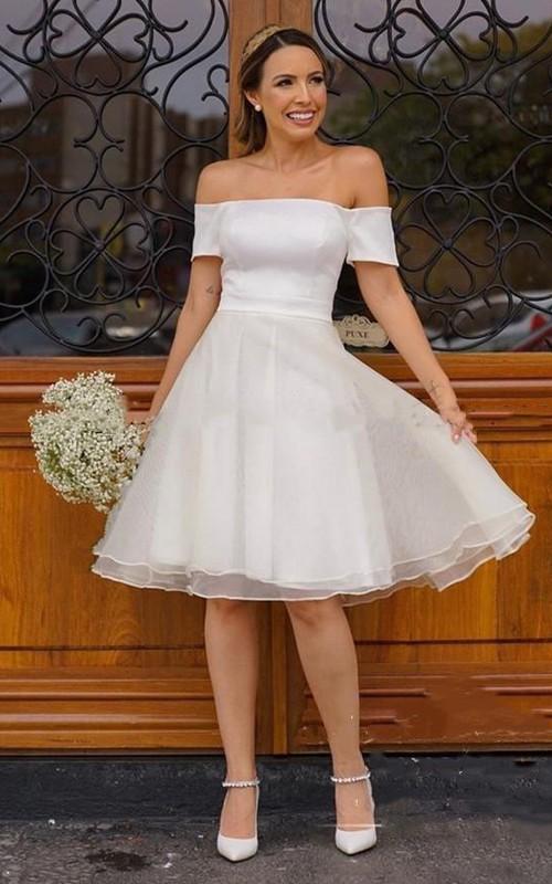Off-the-shoulder Strapless Satin Organza Sleeveless Knee-length Wedding Dress
