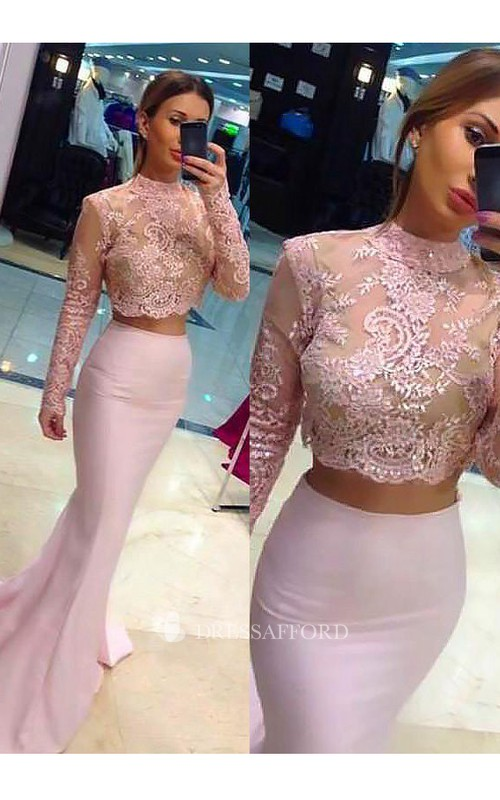 High Neck Satin Lace Long Sleeve Sweep Brush Train Appliques Beading  Dress