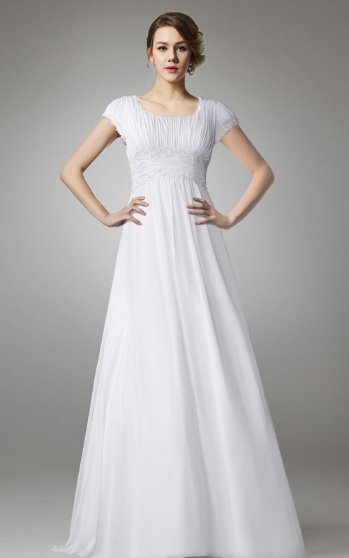 square-neck Cap-sleeve Chiffon A-line Dress With Ruching And Appliques
