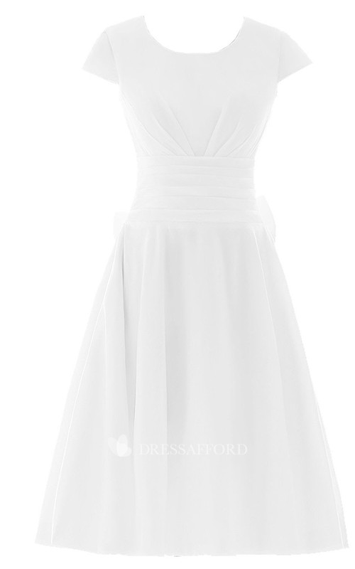 Satin-Ribbon Pleated Ruched Short-Sleeve Chiffon Midi-Length Dress