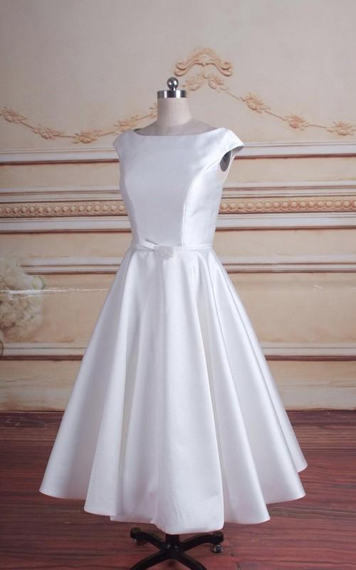 Bateau-neck Cap-sleeve Satin A-line Tea-length Dress With Pleats