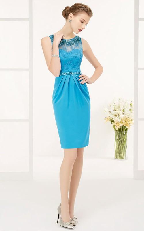 Crystal Neck And Waist Lace Top Sheath Knee Length Prom Dress With Keyhole