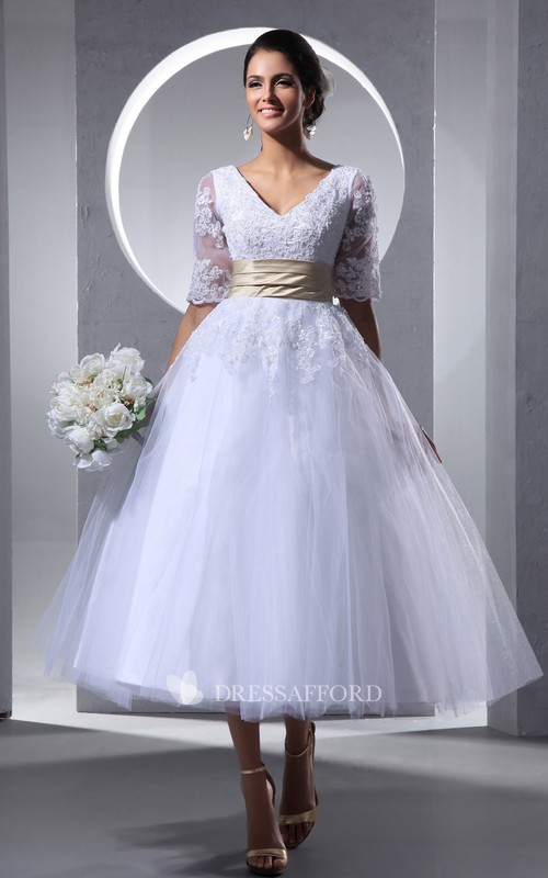 Short-Sleeve Soft Tulle Tea-Length Glam Dress