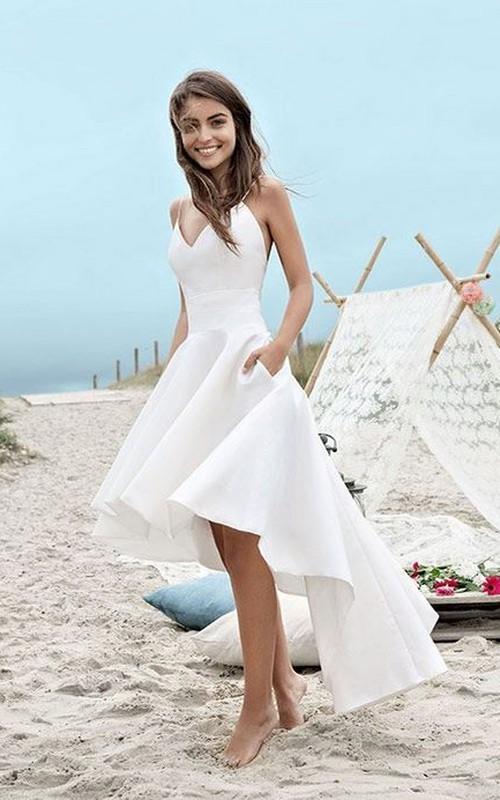High-low Spaghetti Straps Simple Beach Wedding Dress With Ruching