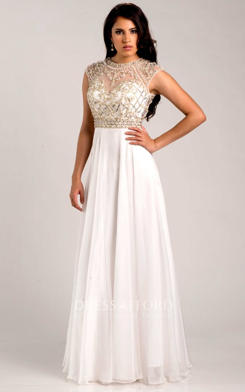 Jewel-Neck Cap-sleeve Long Dress With Beading And Keyhole
