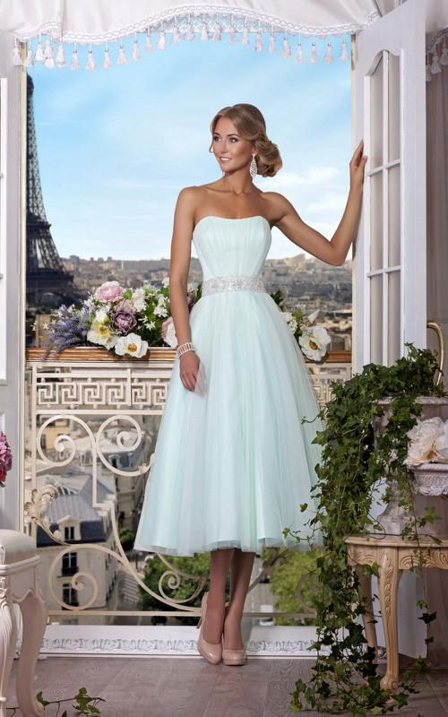 Sleeveless Pleated 3-4-Length A-Line Zipper Jewel Dress