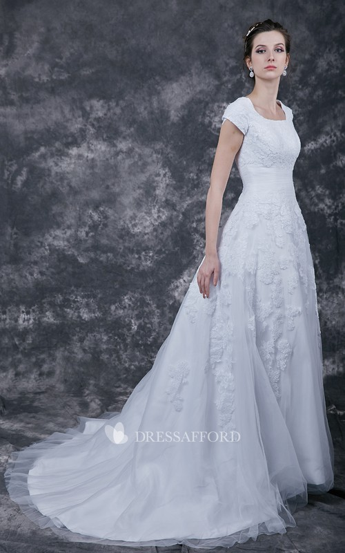 Bridal Long Train Modest Vintage-Inspire Gown