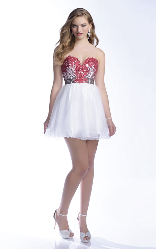 A-Line Sweetheart Tulle Mini Prom Dress With Floral Sequins And Beaded Bodice