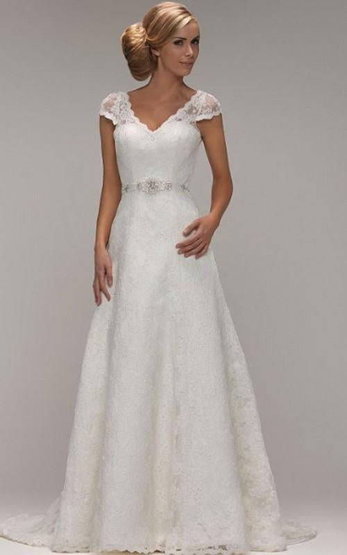 Cap-sleeve V-neck A-line Lace Wedding Dress With Jeweled Waist