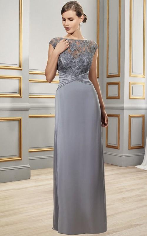 Bateau-Neckline Formal Appliqued Cap-Sleeve Chiffon Dress